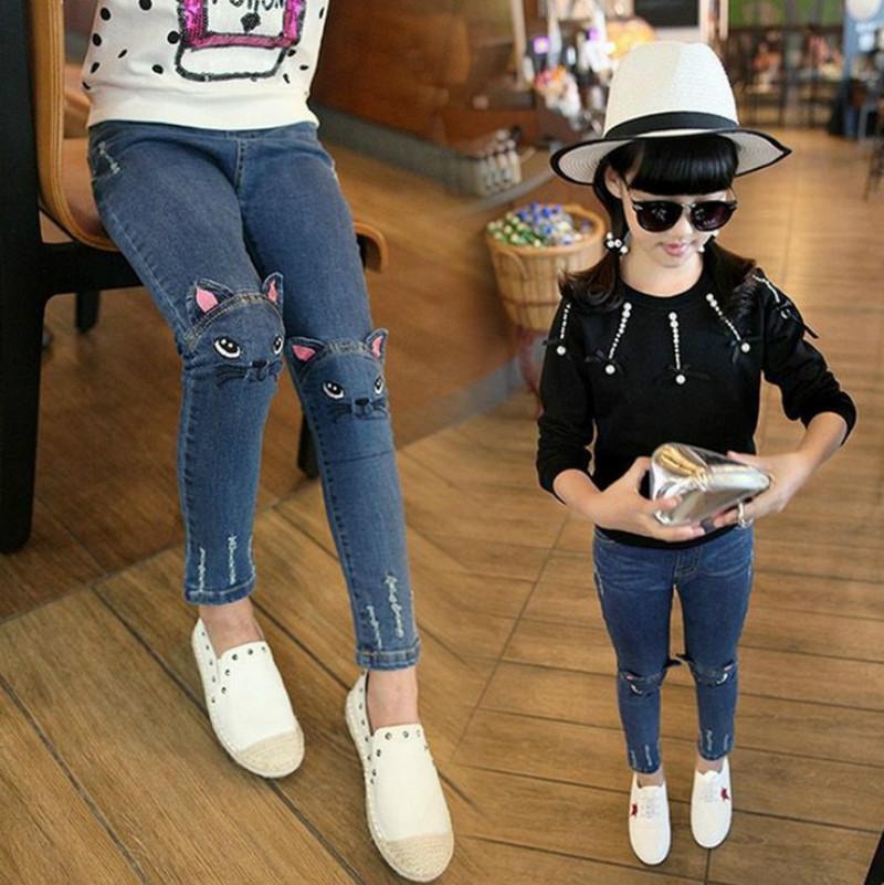 Girl kids Stretch Tight Pants Jeans Cartoon Cat Embroidery Pants Age 2-7 Years