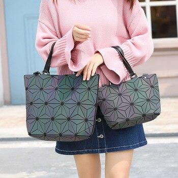 Fashion Bucket Bag Geometry Sequins Mirror laser Plain Folding Shoulder Bags Luminous PU Tote Handbags