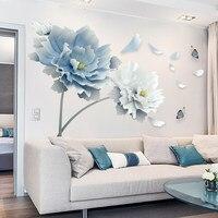 Большой белый синий цветок Лотос Бабочка съемные наклейки на стену 3D наклейки на стену искусство для гостиной спальни домашний декор