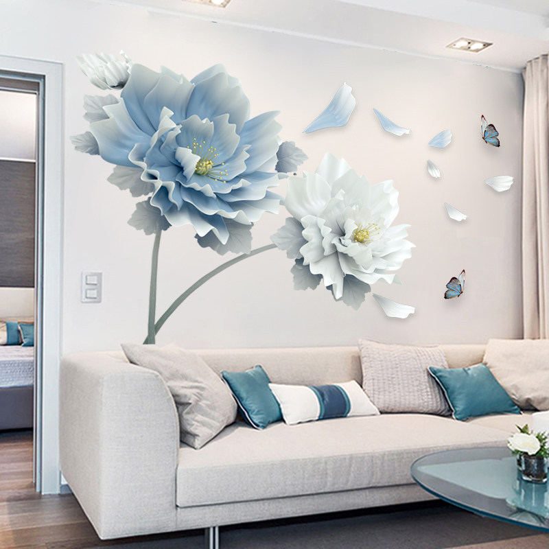 Large White Blue Flower Lotus Butterfly Removable Wall