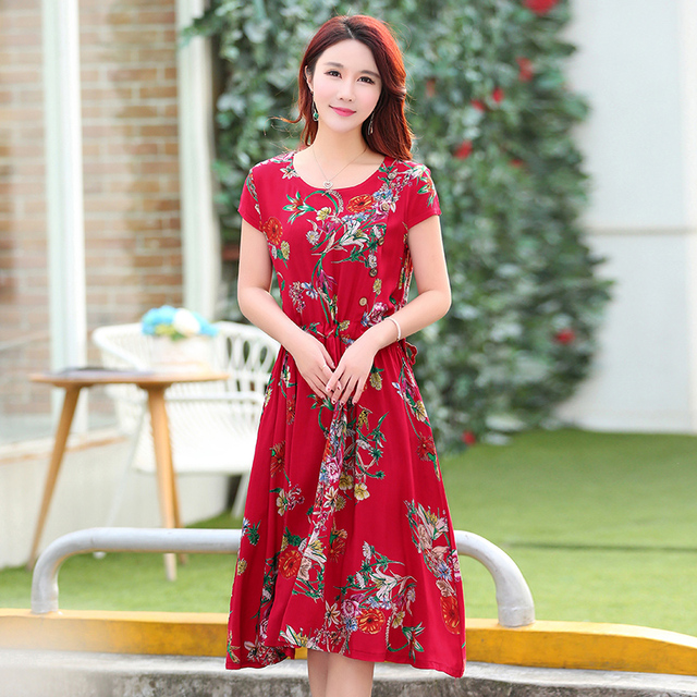 Fashionable Elegant Spring Floral Plus Size Dress