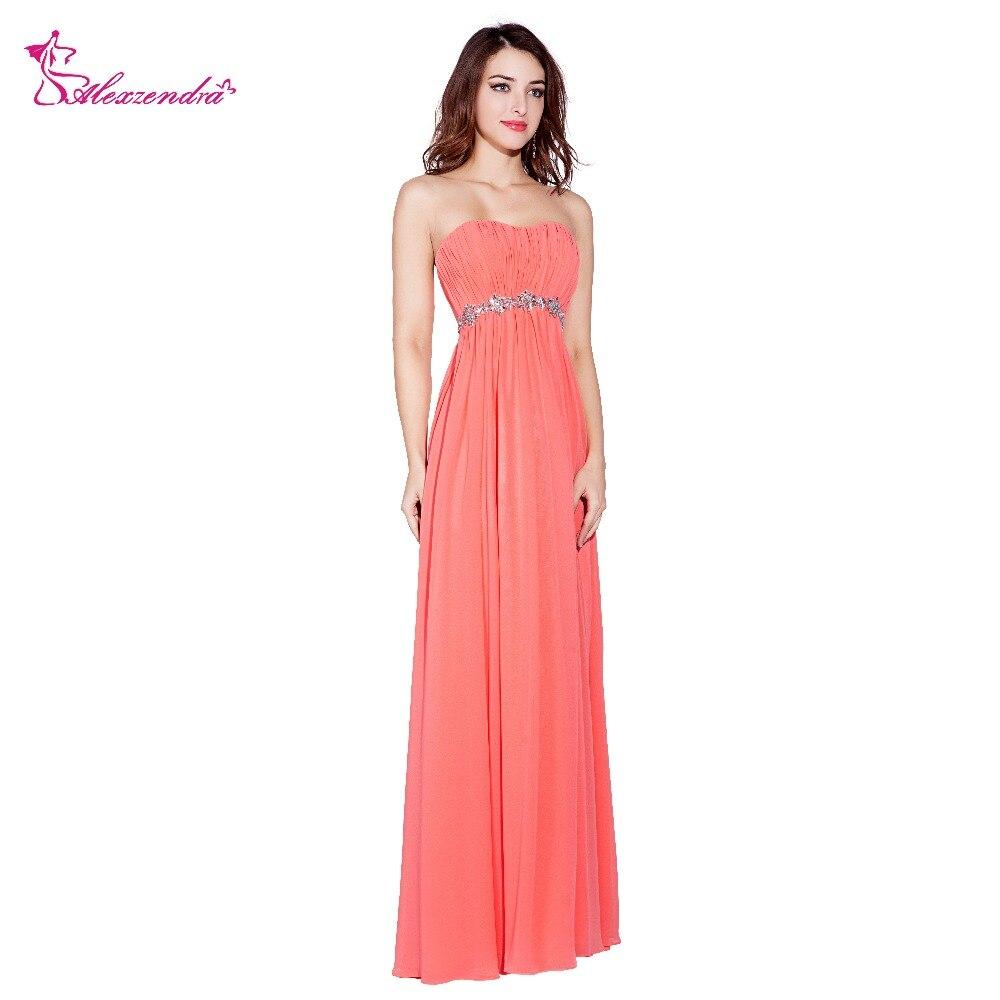 Alexzendra pêche une ligne en mousseline de soie longues robes de bal avec ceinture perlée formelle robe de soirée robes de grande taille de soirée