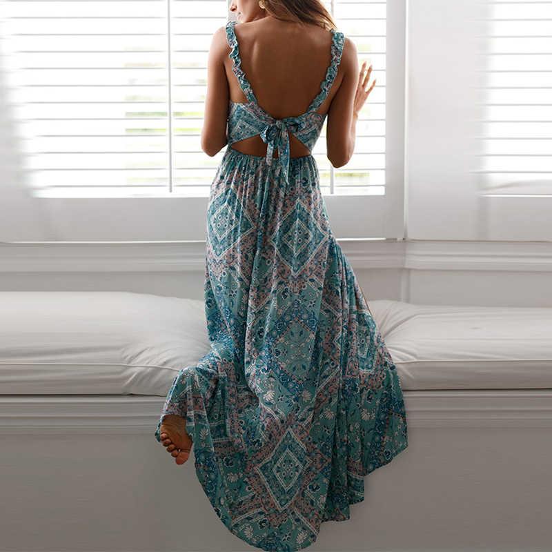 2019 повседневное пляжное богемное Платье с принтом, сексуальное женское платье на бретелях, пояс на талии, открытая спина, нарядное платье макси, летнее женское платье