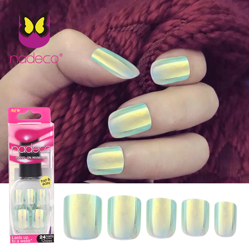 NADECO CHROME Holographic Luxury Press On Nails, pre glued Nails-in ...
