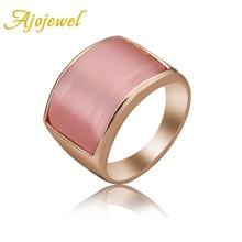Ajojewel 2017 New Geometric White & Pink Opal Ring Women Big Stone Designs Eco-friendly Jewelry Fine Gifts