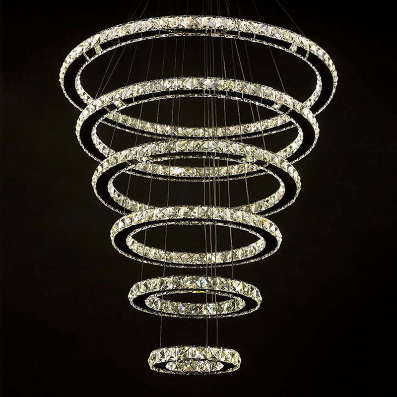 6 Rings Modern Crystal Chandeliers Luxurious Crystal Chandeliers for Long Crystal Lobby Contemporary Led Great Crystal Circle