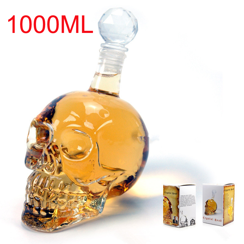 Crystal Skull Head Bottles Decanter Bottling Creative Glass Skull Vodka Bottle 1000ML with 75ml Shot Glass