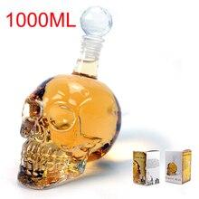 Kristall Schädel Kopf Flaschen Dekanter Abfüllung Kreative Glas Schädel Vodka Flasche 1000 ML mit 75 ml Schuss Glastasse