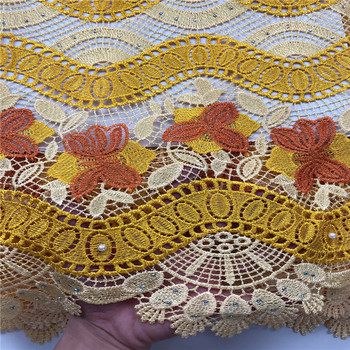 High Quality African Lace Fabric 2019 Latest African Guipure Lace Nigerian Guipure Lace Fabric for wedding dress hs14-27