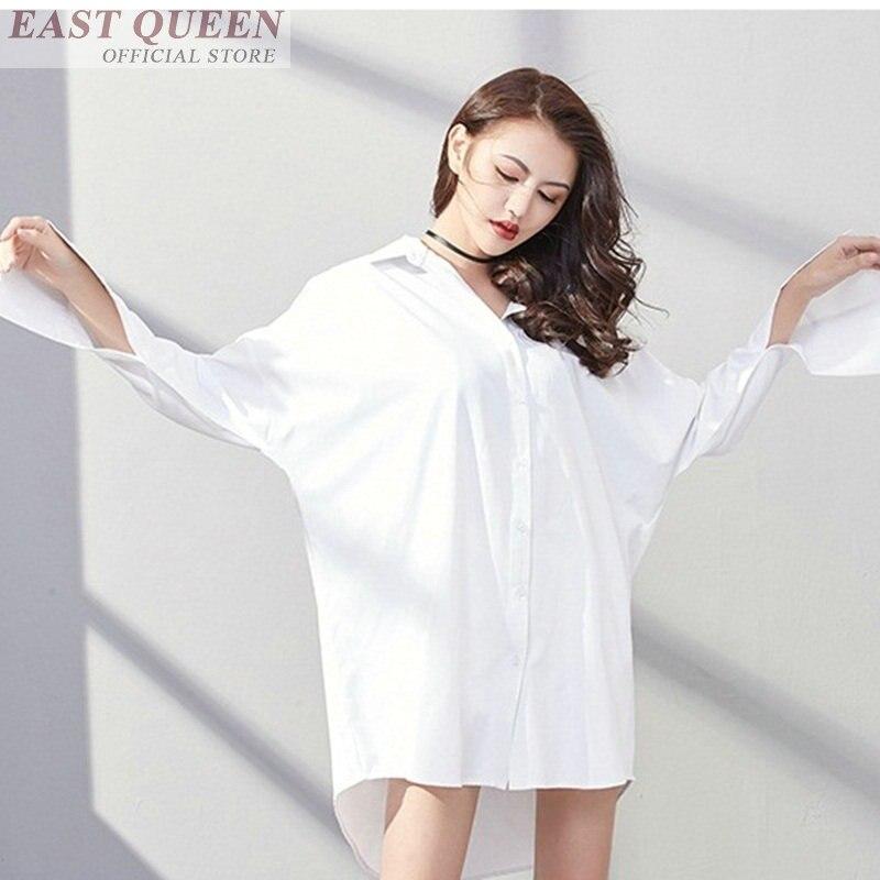 Femmes blouses sexy hauts pour femme 2018 à manches longues col rabattu hauts solide irrégulière ourlet bureau féminin chemises DD587 L