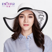 Women sun hat Summer hat knitted straw cap large brim sunscreen female hats with letter 2017 new good quality women sun hats