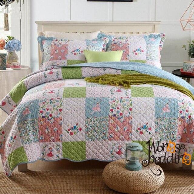 100% cotton Pastoral style Bedspread Patchwork/Plaid Coverlet 3pcs ...