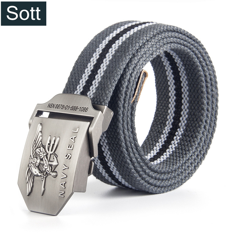 [SOTT] 2018 Brand Tactical Belts Navy Seal Metal Smooth Buckle Striped Canvas Belt Mens Belt Military Belts Eagle Waist Cinto