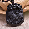 Natural Black Obsidian Pendant Carved Chinese Zodiac Animal Tiger Pendant Bead Necklace Lucky Amulet Men Women's Jade Jewelry
