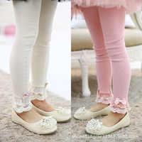 Filles leggings enfants printemps 2019 couleur Pure fleur bord pantalon pour filles vêtements coton bambin filles pantalons enfants leggings