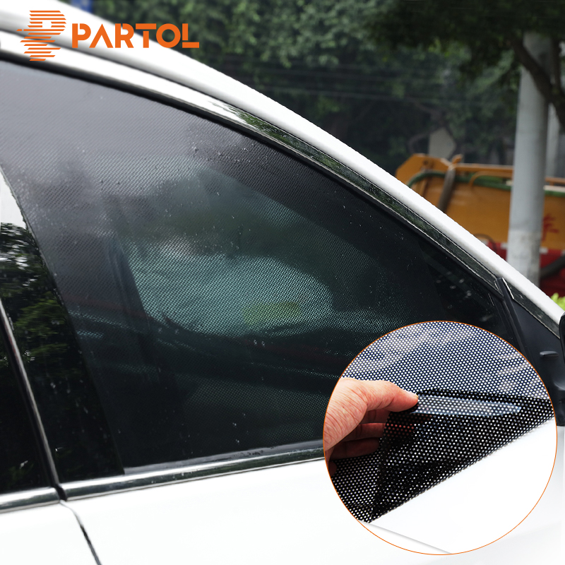 все цены на Partol 2pcs 42x38cm DIY Car Sun Shades Film Sun Protection Window Cover Black PVC Sunshade Side Window Shield with Small Holes онлайн