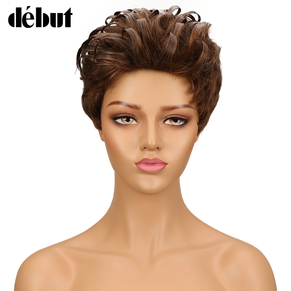 Debut Human Hair Wigs Short Romance Weave Curly Brazilian Cheap Ombre Human Hair Wig 10 Color Wigs For Black Women Free Ship