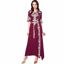 Muslim women Long sleeve Dubai Dress maxi abaya jalabiya islamic clothing robe Moroccan embroidery vintage dress 1712(China)