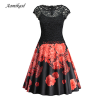 Aamikast Womens Flower Floral Printed Lace Dress Vintage O Neck Slim Sexy Pin up Rockabilly Vestidos Party Black Lace Dresses
