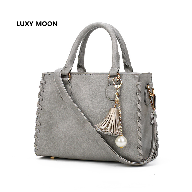 Matte Leather Solid Color Totes Handbags for Women Tassel designer sac a main Luxury Brand Fashion Top Handle Shopping Bags A56