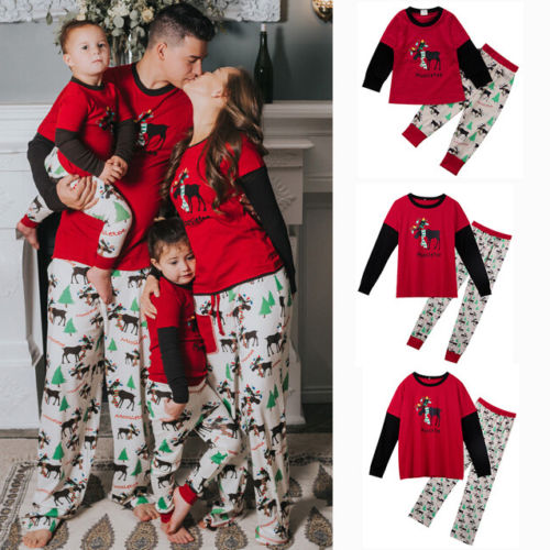 Family Christmas Pajamas Matching Set Men Women Kid Deer Sleepwear Nightwear