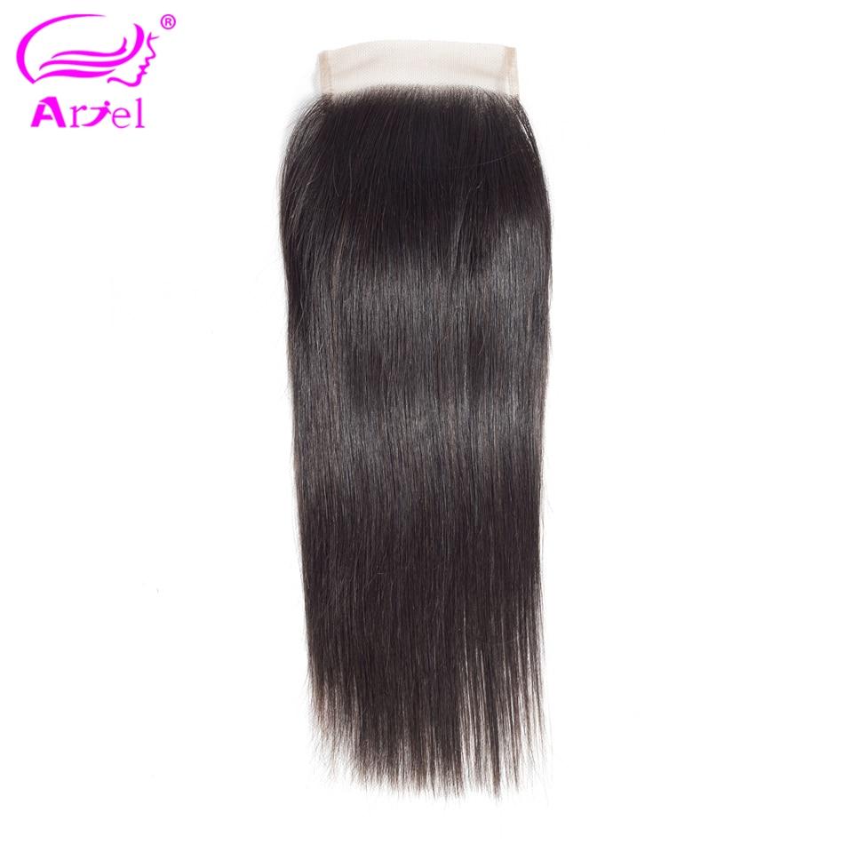 Ariel Non-Remy Lace Closure Brazilian 100%Human-Hair Hair-Weaving 8-22inch Natural-Color