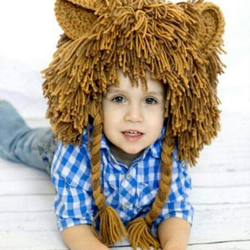 Creative Autumn And Winter Children Handmade Knitting Wool Wigs Baby Lion Head Hat Funny Halloween Gift the new children s cubs hat qiu dong with cartoon animals knitting wool cap and pile