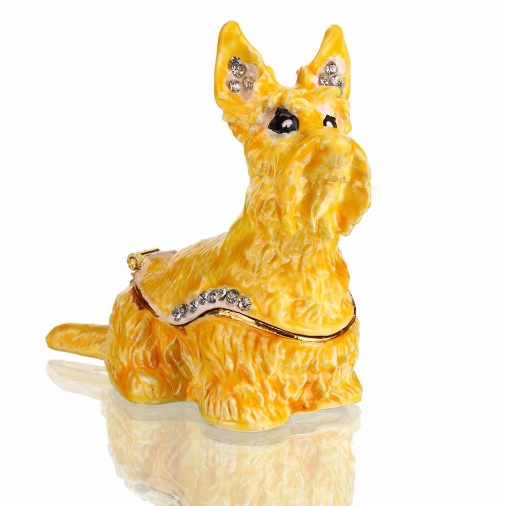 2.2 inch Metal Dog Figurines Wedding Ring Trinket Box with Crystal Holder Earring Jewelry Storage Box Souvenirs Gril Gift Crafts
