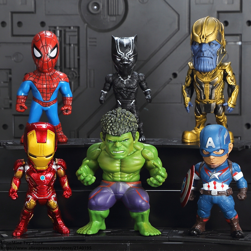 ZXZ Marvel Avengers Captian America Thor Hulk Iron Man 6pcs/set Q Version Action Figure Anime Collection Figurine Toys model цены онлайн