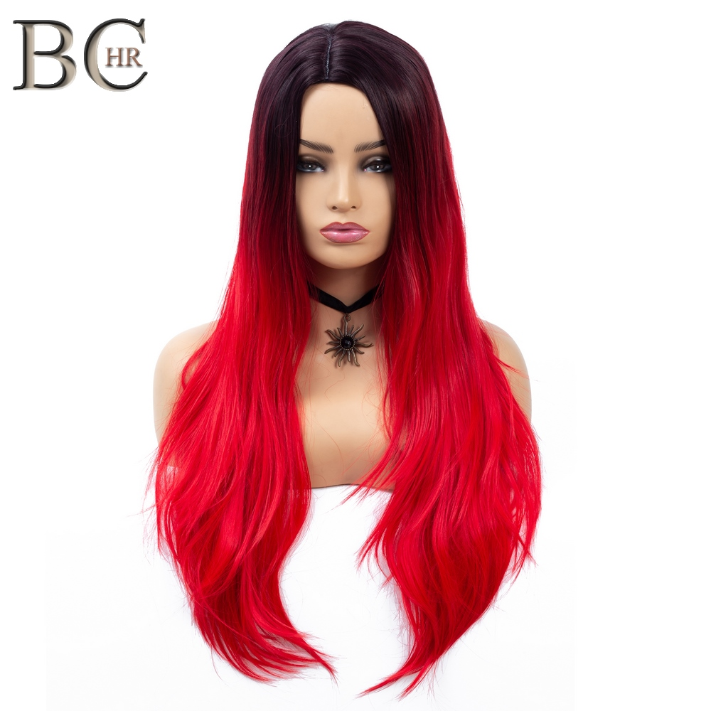 BCHR Long Straight Ombre Wigs for Women Red Synthetic Wig Middle Part Dark Root Can be Cosplay Wigs