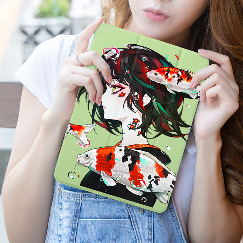 Cartoon Girl Print Case For iPad Air Air2 9 7 quot Air 10 5 quot PU Leather Stand Cover Hard PC Back Case For iPad Air Flip Case Cover in Tablets amp e Books Case from Computer amp Office