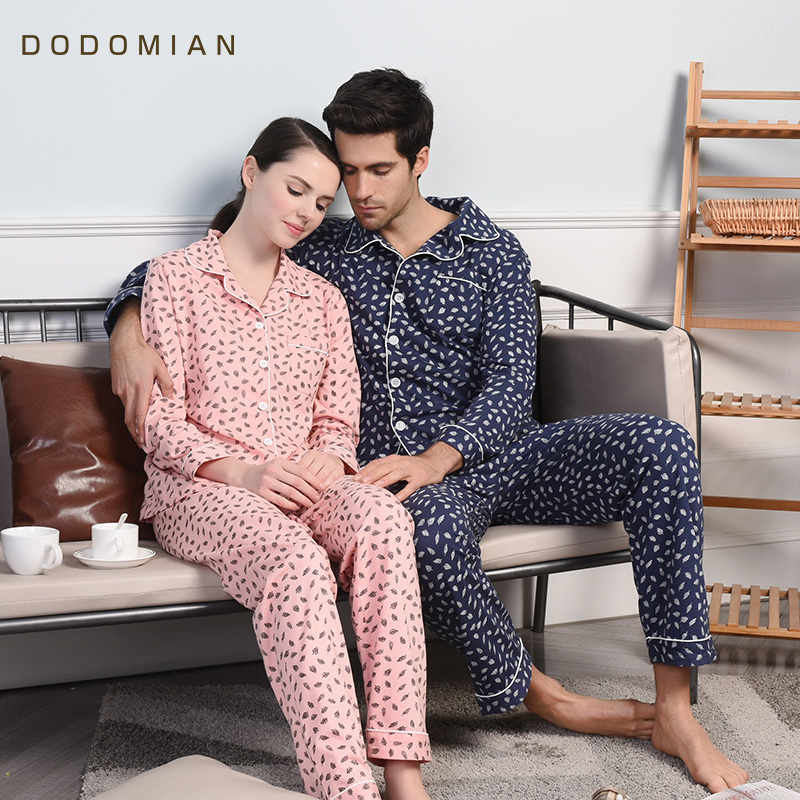 DO DO MIAN Couples Pajamas Sets 95% Cotton 2 psc Leisure Home Clothing Suit women/men Tu ...