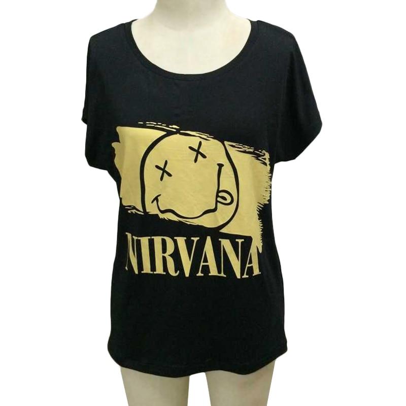 Cara Mujeres Algodón Carta Tops Camisetas Nirvana Oro Moda En Estilo Verano  Para Del Casual Camiseta 748 Sonrisa Rock ... ea74776beac