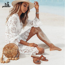 2019 Baru Musim Panas Wanita Bikini Cover Up Floral Renda Hollow Crochet Baju Renang Cover-Up Terusan Tunik Beach dress Panas(China)