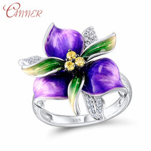 CANNER Fashion Dazzling Flower Rings for Women CZ Zircon Finger Ring Anniversary Gift Wedding 925 Sterling Silver Jewelry