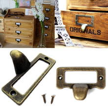 6pcs Drawer Cabinet Handles File Name Card Handle Label Hold Antique Brass