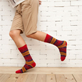 HOT 2017 new design high quality cotton spring and summer creative colorful lattice casual men long happy socks