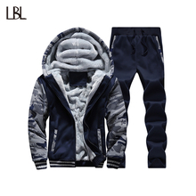 Tracksuit Men Camouflage Army Casual Hooded Warm Sweatshirt Male Winter Thick Inner Fleece 2PC Jacket+Pant Moleton Masculino