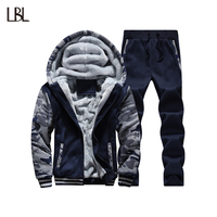 Tracksuit Men Camouflage Army Casual Hooded Warm Sweatshirt Male Winter Thick Inner Fleece 2PC Jacket Pant