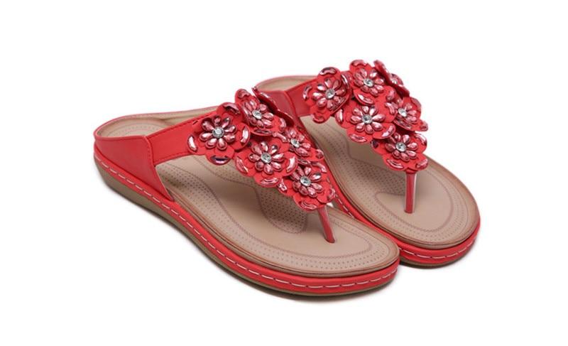 New 2019 ethnic women`s sandals cross-border bohemian rhinestones large size comfortable flat shoes beach shoes (39)