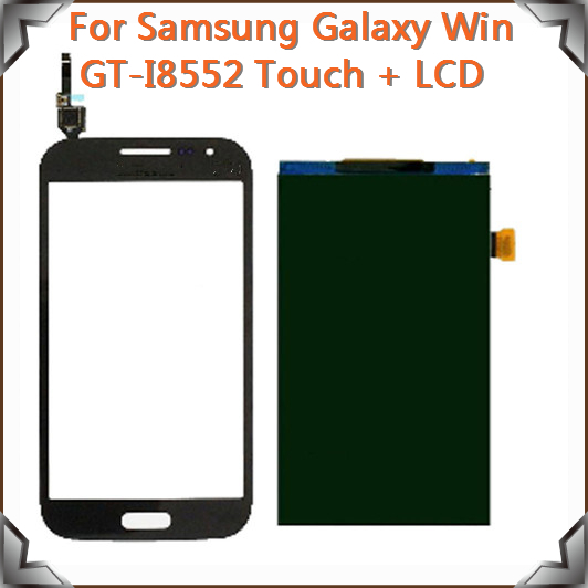 Prix pour Pour Samsung Galaxy i8552 LCD Écran D'affichage Lentille En Verre Panneau avec i8552 Écran Tactile digitizer, Livraison Gratuite!! (Noir)