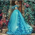 2017 Newest Royal Long Train Wedding Dresses Turquoise Blue/Pink Flower Organza Ball Gown Arabic Bridal Dress Said Mhamad
