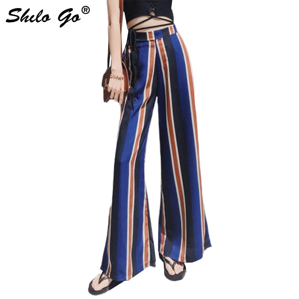High Split Stripe Wide Leg   Pants   Women Summer Beach High Waist Trousers Chic Streetwear Casual   Pants     Capris   Female