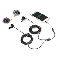 Comica 2 5M 4 5M 6M Dual Head Lavalier Lapel Microphone Clip On Omnidirectional Condenser Mic