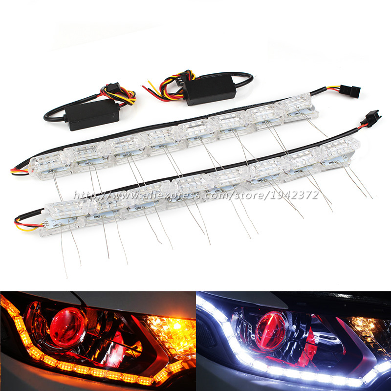 Car Flexible White Amber Switch LED 2PCS Fixed Flash Strip Light for Headlight Daytime Running Lights DRL Turn Signal flexible 3w 132lm 6 smd 5050 led white car decorative daytime running light 12v 2 pcs