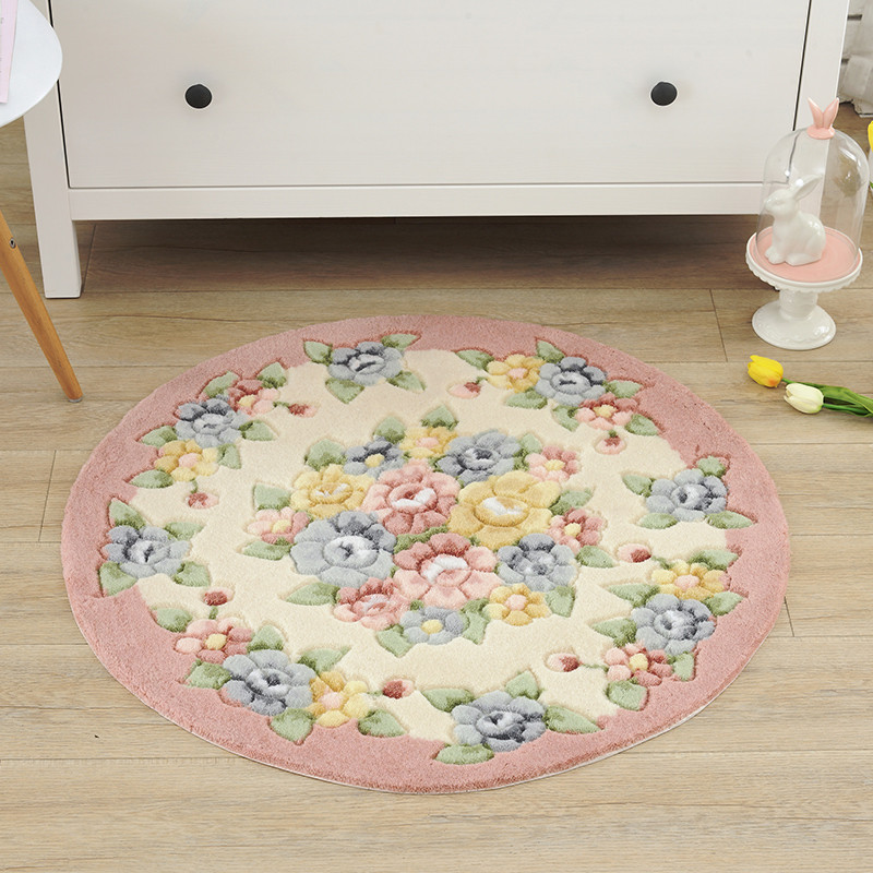 Tapis de salle de bain rond imprimé fleur rose Dia 80cm tapis de salle de bain antidérapant pour porte toilette chambre tapis de bain tapis de bain pas cher tapis de bain