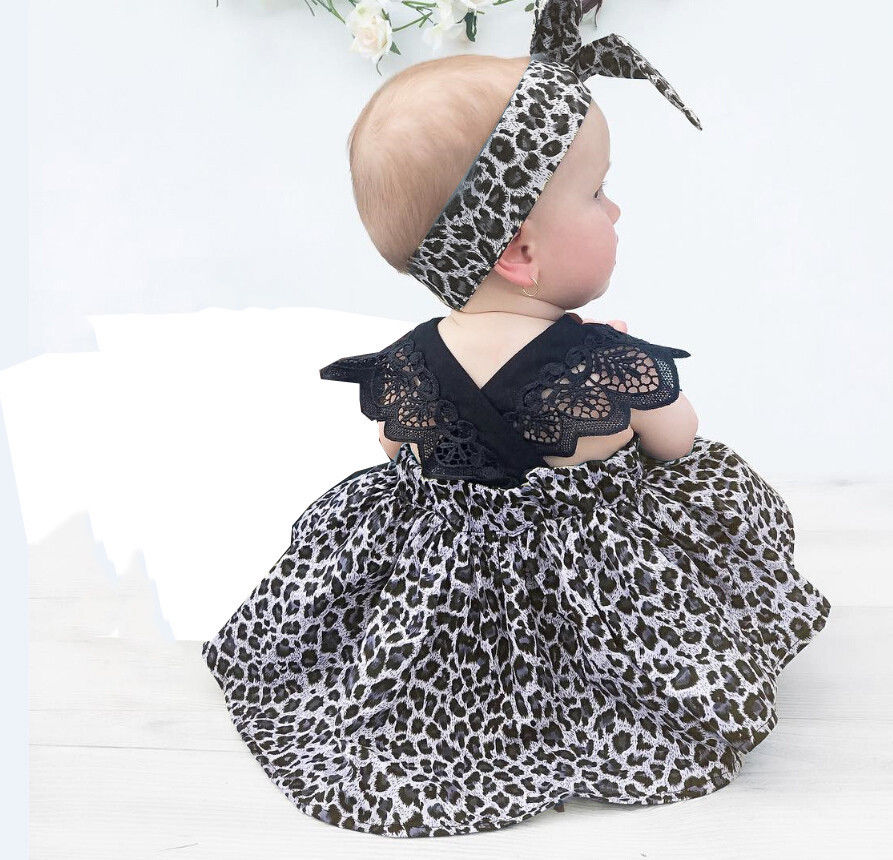 8641b5c4a 0-7Y Fashion Baby Girl Clothes Leopard Suit Lace Ruffles Sleeve Romper Dress  + Headband 2pcs Outfit Toddler Kids Summer Costume