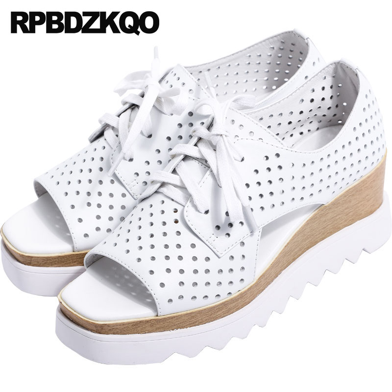 Pumps High Quality White Lace Up Heels 2018 Peep Toe Luxury Shoes Designer Women Summer Genuine Leather Wedge Sandals Platform summer woman shoes platform wedge sandals women high heels shoes green black 2017 new genuine leather womens peep toe pumps