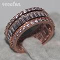 Vecalon Женщины Ювелирные Изделия кольца 15ct Имитация алмазный Cz Розового Золота Стерлингового Серебра 925 свадьба Обручальное кольцо Диапазона