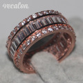 Vecalon Women Fashion Jewelry ring 15ct Simulated diamond Cz Rose Gold 925 Sterling Silver Engagement wedding Band ring